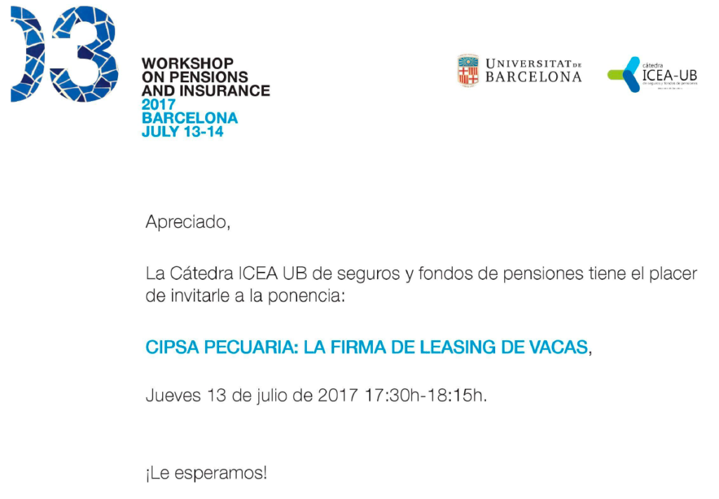 Cipsa Pecuaria participa en WORKSHOP ON PENSIONS AND INSURANCE